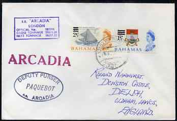 Bahamas used in Palma (Majorca) 1968 Paquebot cover to England carried on SS Arcadia with various paquebot and ships cachets