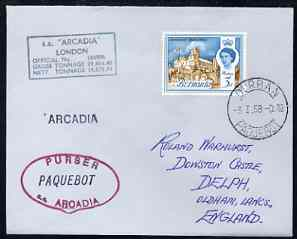 Bermuda used in Durban (South Africa) 1967 Paquebot cover to England carried on SS Arcadia with various paquebot and ships cachets