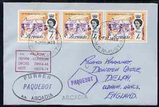 Bermuda used in Sydney (New South Wales) 1968 Paquebot cover to England carried on SS Arcadia with various paquebot and ships cachets