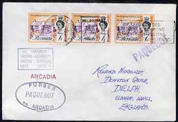 Bermuda used in Melbourne (Victoria) 1968 Paquebot cover to England carried on SS Arcadia with various paquebot and ships cachets