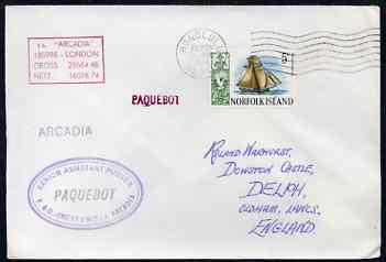 Norfolk Island used in Honolulu (Hawaii) 1968 Paquebot cover to England carried on SS Arcadia with various paquebot and ships cachets