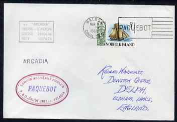 Norfolk Island used in Balboa (Canal Zone) 1968 Paquebot cover to England carried on SS Arcadia with various paquebot and ships cachets