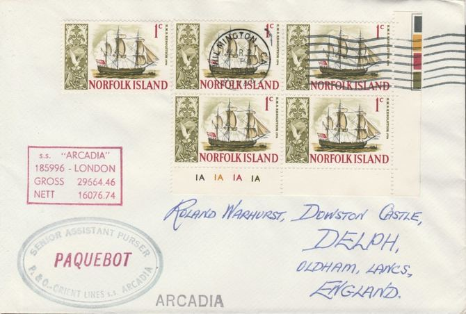 Norfolk Island used in Wilmington (California) 1968 Paquebot cover to England carried on SS Arcadia with various paquebot and ships cachets