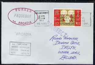 Bahamas used in Lisbon (Portugal) 1968 Paquebot cover to England carried on SS Arcadia with various paquebot and ships cachets