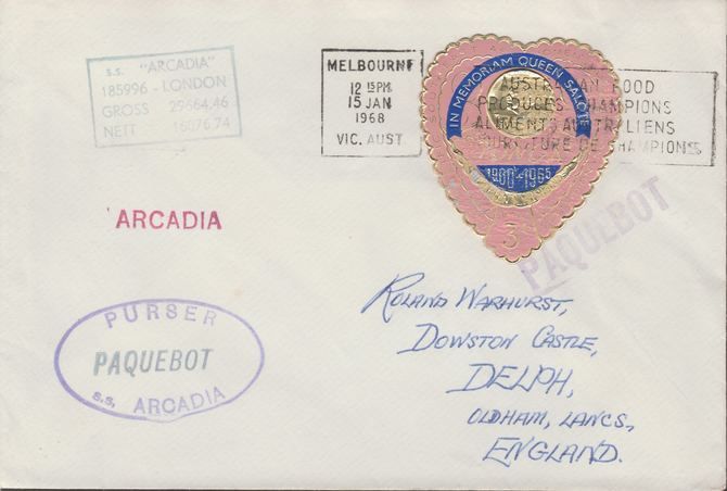 Tonga used in Melbourne (Victoria) 1968 Paquebot cover to England carried on SS Arcadia with various paquebot and ships cachets