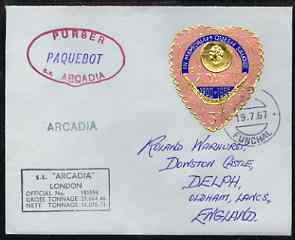Tonga used in Funchal (Portugal) 1967 Paquebot cover to England carried on SS Arcadia with various paquebot and ships cachets