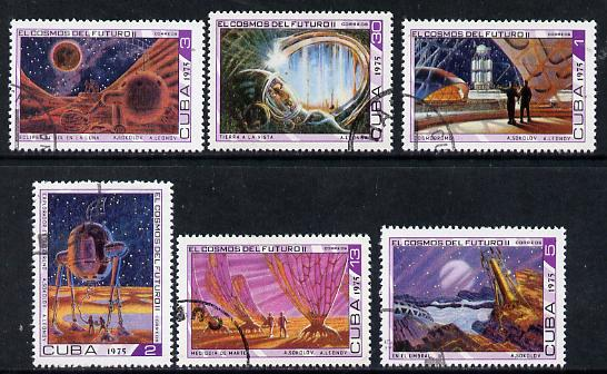 Cuba 1975 Cosmonautics Day cto set of 6 (Science Fiction Paintings), SG 2196-2201*