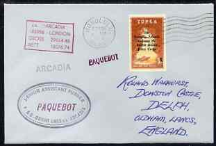 Tonga used in Honolulu (Hawaii) 1968 Paquebot cover to England carried on SS Arcadia with various paquebot and ships cachets