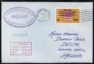 Tonga used in Wilmington (California) 1968 Paquebot cover to England carried on SS Arcadia with various paquebot and ships cachets