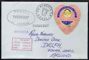 Tonga used in Ajaccio (Corsica) 1968 Paquebot cover to England carried on SS Arcadia with various paquebot and ships cachets