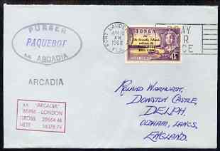 Tonga used in Fort Lauderdale (Florida) 1968 Paquebot cover to England carried on SS Arcadia with various paquebot and ships cachets