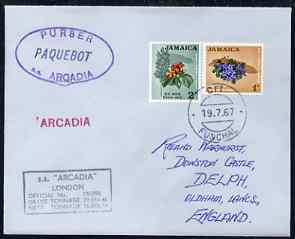 Jamaica used in Funchal (Portugal) 1967 Paquebot cover to England carried on SS Arcadia with various paquebot and ships cachets