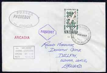 New Zealand used in Sydney (New South Wales) 1968 Paquebot cover to England carried on SS Arcadia with various paquebot and ships cachets