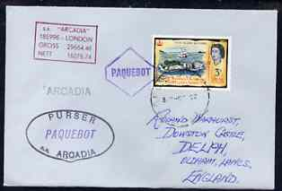 Fiji used in Sydney (New South Wales) 1968 Paquebot cover to England carried on SS Arcadia with various paquebot and ships cachets