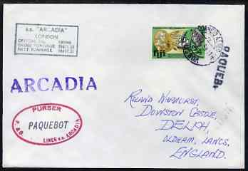 Fiji used in Lisbon (Portugal) 1969 Paquebot cover to England carried on SS Arcadia with various paquebot and ships cachets