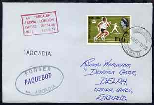 Fiji used in Cape Town (South Africa) 1967 Paquebot cover to England carried on SS Arcadia with various paquebot and ships cachets