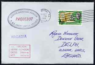 Fiji used in Wilmington (California) 1968 Paquebot cover to England carried on SS Arcadia with various paquebot and ships cachets