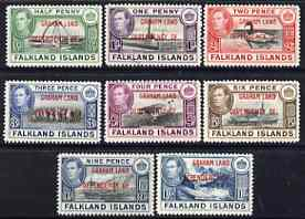 Falkland Islands Dependencies - Graham Land 1944 KG6 opt'd set of 8 unmounted mint, SG A1-8