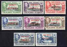 Falkland Islands Dependencies - South Orkneys 1944 KG6 opt'd set of 8 unmounted mint, SG C1-8