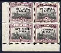 South West Africa 1929 Official 2d Union Buildings mounted mint corner block of 4, one stamp with