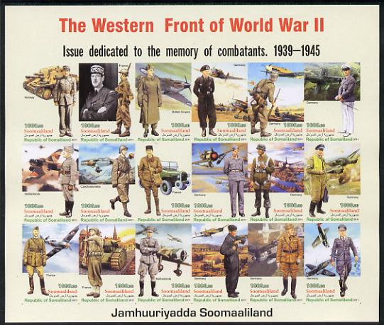 Somaliland 2011 The Western Front of World War II #1 imperf sheetlet containing 18 values unmounted mint