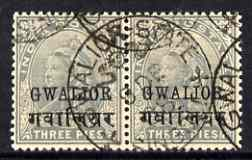 Indian States - Gwalior 1899-1911 QV 3p horiz pair fine used, SG39 cat \A3120