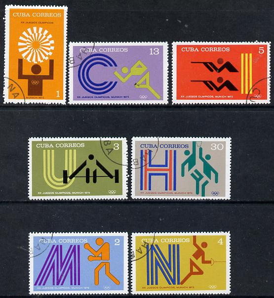 Cuba 1972 Olympic Games, Munich cto set of 7, SG 1947-53*