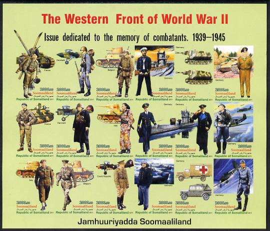 Somaliland 2011 The Western Front of World War II #2 imperf sheetlet containing 18 values unmounted mint