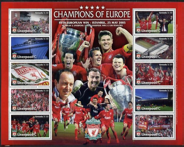 Grenada 2005 Liverpool Football Club - Champions of Europe perf sheetlet containing 10 values unmounted mint, SG 5131-40