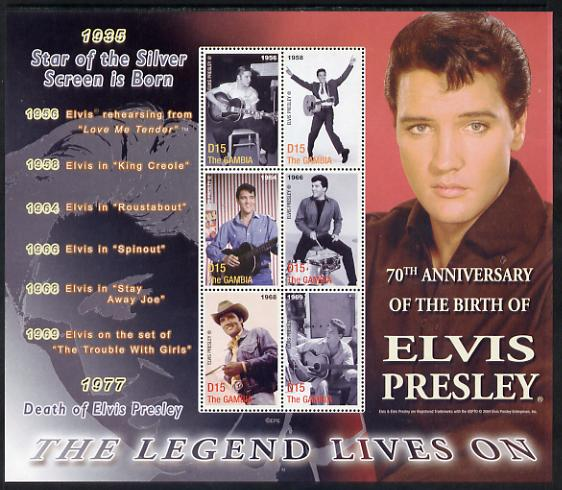 Gambia 2005 70th Birth Anniversary of Elvis Presley perf sheetlet containing 6 values unmounted mint, SG 4793-97