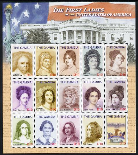 Gambia 2007 First Ladies of the United States perf sheetlet containing 15 values unmounted mint, SG 5069-82, stamps on personalities, stamps on americana, stamps on usa presidents