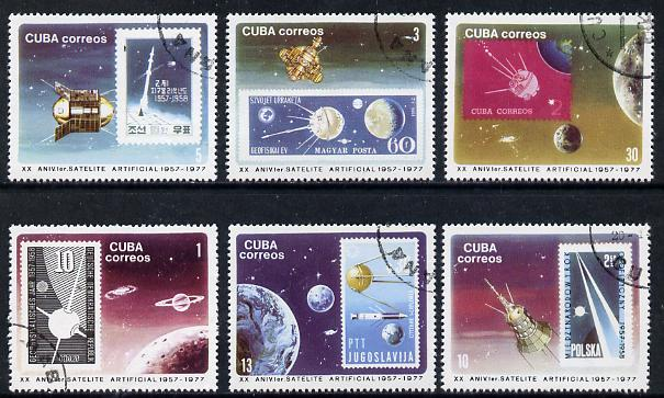 Cuba 1977 Satellite Anniversary cto set of 6 (Stamp on Stamp), SG 2365-70*, stamps on communications    space   stamp on stamp, stamps on stamponstamp