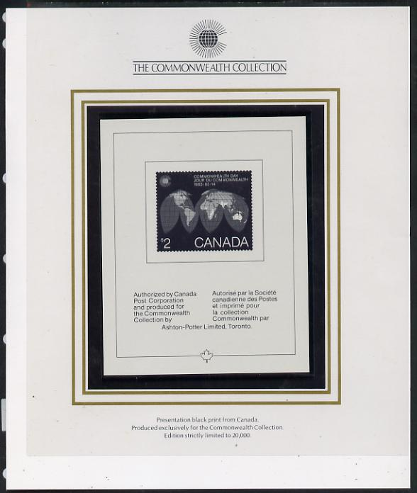 Canada 1983 Commonwealth Day Presentation black print specially authorised for the Commonwealth Collection and limited to just 20,000 in folder
