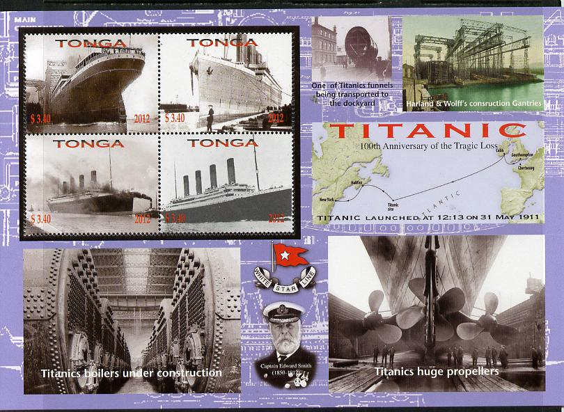 Tonga 2012 Titanic large perf sheetlet containing 4 values unmounted mint