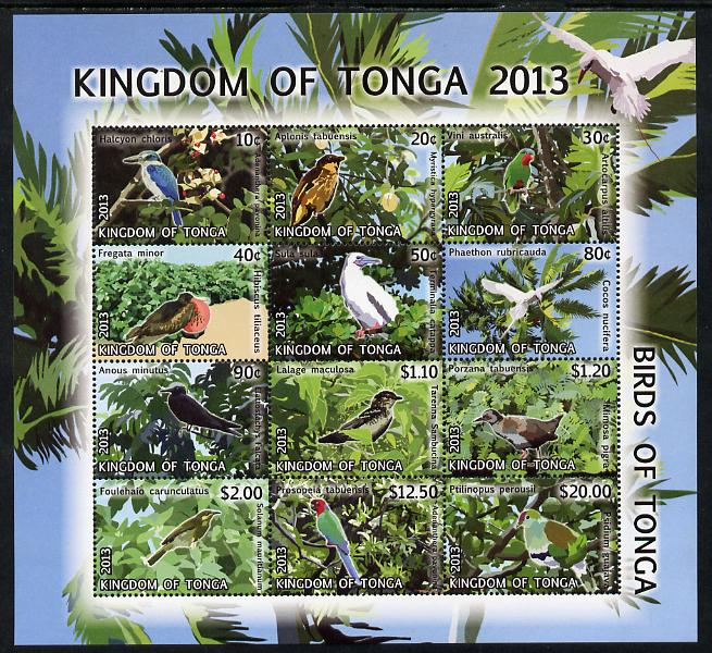 Tonga 2013 Birds #2 definitive perf sheetlet containing set of 12 values unmounted mint