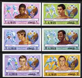 Ajman 1971 Olympic Boxers imperf set of 6 unmounted mint Mi 1054-59B