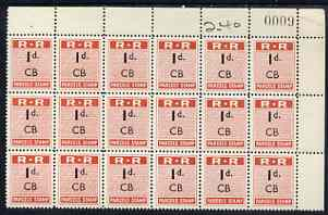 Northern Rhodesia 1951-68 Railway Parcel stamp 1d (small numeral) overprinted CB (Chisamba) fine unmounted mint corner block of 18 with sheet number
