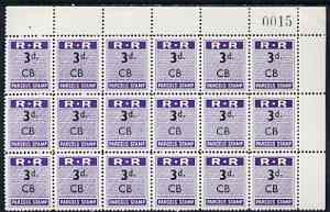 Northern Rhodesia 1951-68 Railway Parcel stamp 3d (small numeral) overprinted CB (Chisamba) fine unmounted mint corner block of 18 with sheet number