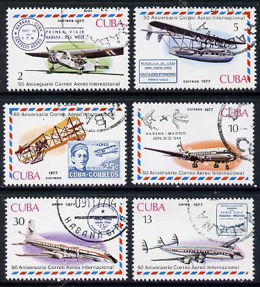 Cuba 1977 Cuban Air Mail Anniversary cto set of 6 (Stamp on Stamp), SG 2405-10*