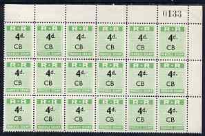 Northern Rhodesia 1951-68 Railway Parcel stamp 4d (small numeral) overprinted CB (Chisamba) fine unmounted mint corner block of 18 with sheet number