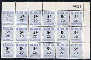 Northern Rhodesia 1951-68 Railway Parcel stamp 5d (small numeral) overprinted ZD (Zimba) fine unmounted mint corner block of 18 with sheet number