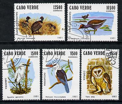 Cape Verde Islands 1981 Birds (Kingfisher, Owl etc) complete set of 5 cto used SG 512-16*