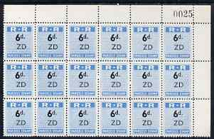 Northern Rhodesia 1951-68 Railway Parcel stamp 6d (small numeral) overprinted ZD (Zimba) fine unmounted mint corner block of 18 with sheet number