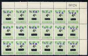Northern Rhodesia 1951-68 Railway Parcel stamp 4d (small numeral) handstamped NKA (Nkana Kitwe) on HRD (Hunters Road) fine unmounted mint corner block of 18 with sheet number