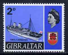 Gibraltar 1967-69 HMS Carmania 2d unmounted mint single with 'broken rope' variety