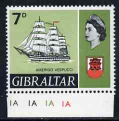 Gibraltar 1967-69 Amerigo 7d unmounted mint single with 'patched sail' variety
