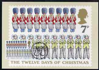 Great Britain 1977 QEII Christmas 7p PHQ card (12 Lords & 11 Ladies) with error of text (7 swans & 8 maids) used with Bureau cancel