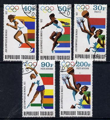 Togo 1972 Olympic Games, Munich set of 5 cto used, SG 887-91*, stamps on olympics, stamps on sport, stamps on basketball, stamps on running, stamps on discus, stamps on  gym , stamps on gymnastics, stamps on