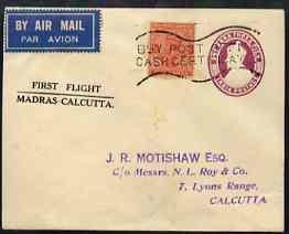 India 1934 first flight cover Madras to Calcutta