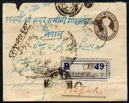 India 1936 1a p/stat env bearing additional 4a registered from Gorakhpur to Nepal, with various cancels